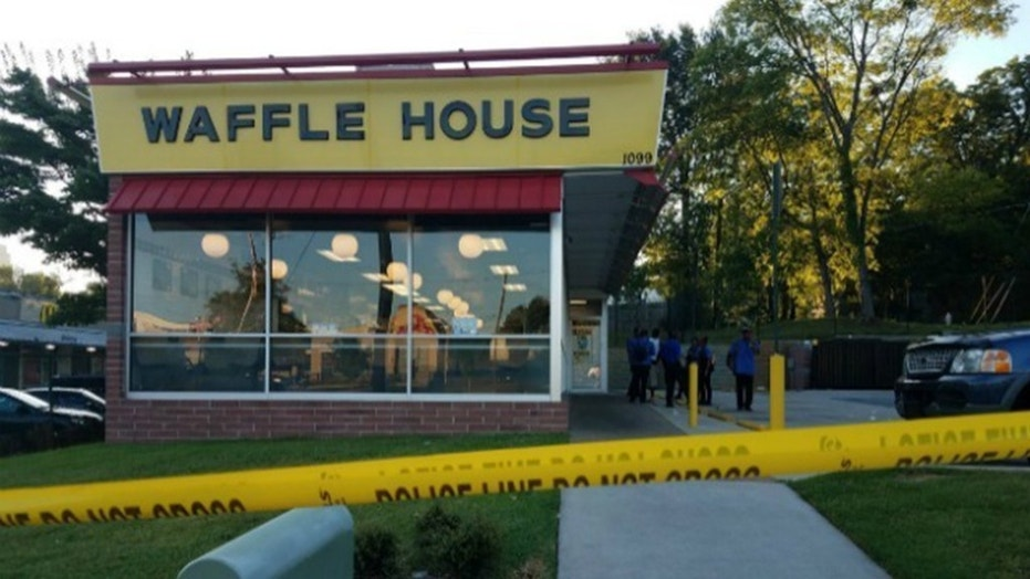 A customer was shot during a robbery Tuesday at this Waffle House in northwest Atlanta.