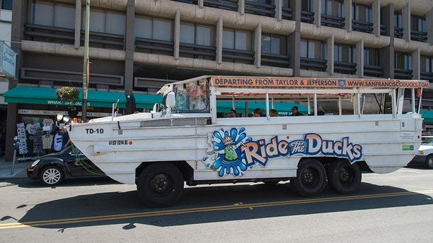 San Francisco, California, USA - May 18, 2013: A Ride The Ducks vehicle standing on a street in San Francisco during the day. The ride on this vehicle ride through the historic streets and neighborhoods of San Francisco. It also cruises the bay.
