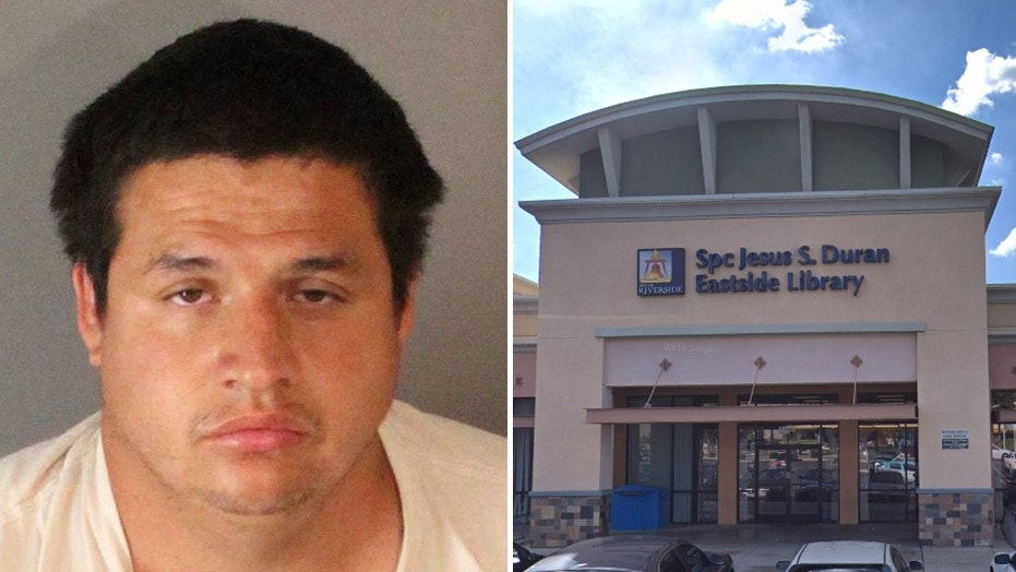 Juan Francisco Palacios is accused of sexually assaulting a 6-year-old body at a public library in Riverside, Calif.