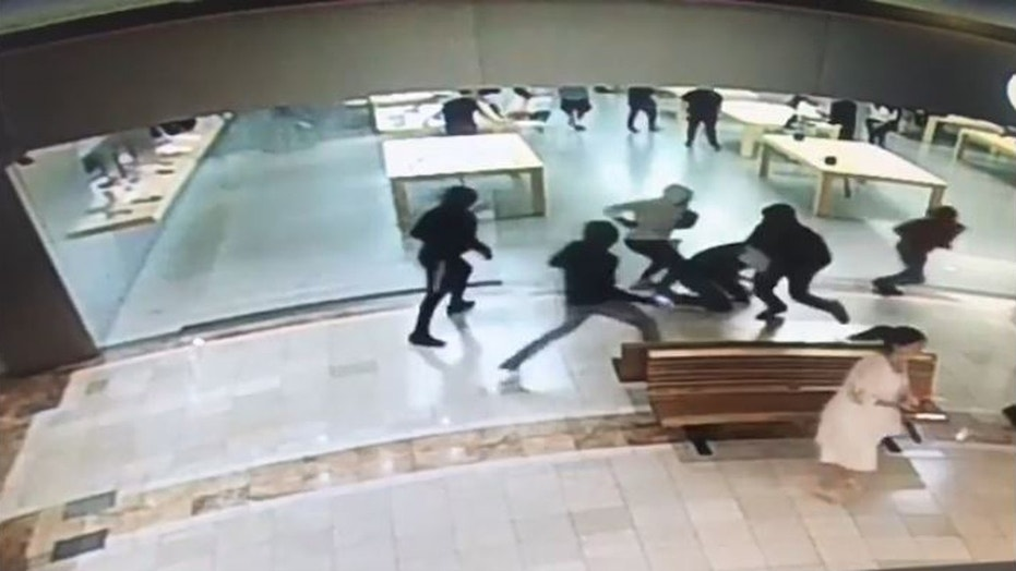 Five men stole Apple devices worth about $29,000 from an Apple Store in Southern California on Monday night, police said.