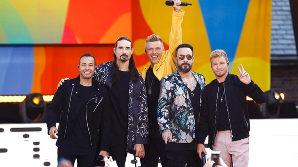 "The Backstreet Boys, from left, Howie Dorough, Kevin Richardson, Nick Carter, AJ McLean and Brian Littrell appear on ABC's ""Good Morning America's"" 2018 Summer Concert Series at Rumsey Playfield/SummerStage on Friday, July 13, 2018, in New York. (Photo by Andy Kropa/Invision/AP)"