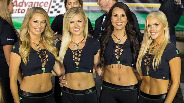 SPARTA, KY - JULY 08: Monster Energy girls pose in victory lane after the NASCAR Quaker State 400 Monster Energy Cup Series race on July 8, 2017 at Kentucky Speedway in Sparta, KY. (Photo by Stephen Furst/Icon Sportswire via Getty Images)