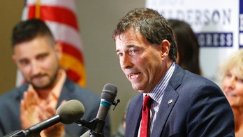 Troy Balderson, Republican candidate for Ohio's 12th Congressional District, speaks to a crowd of supporters during an election night party Tuesday, Aug. 7, 2018, in Newark, Ohio. (AP Photo/Jay LaPrete)