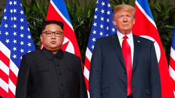 FILE - In this June. 12, 2018, file photo, U.S. President Donald Trump meets with North Korean leader Kim Jong Un on Sentosa Island, in Singapore. The White House says President Donald Trump received a new letter from North Korean leader Kim Jong Un Wednesday following up on their Singapore summit. (AP Photo/Evan Vucci, File)