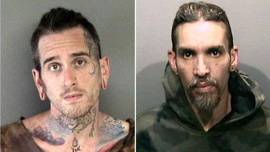 Booking photos released by the Alameda County Sheriff's Office shows Max Harris, left, and Derick Almena, at Santa Rita Jail in Alameda County, Calif., June 2017.