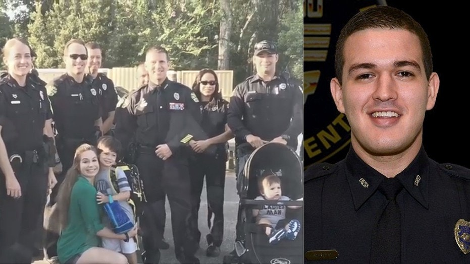 Officer Kevin Valencia, right, was shot in the face in June while responding to a domestic violence call. On Friday, officers escorted the son of their wounded comrade to his first day of kindergarten.