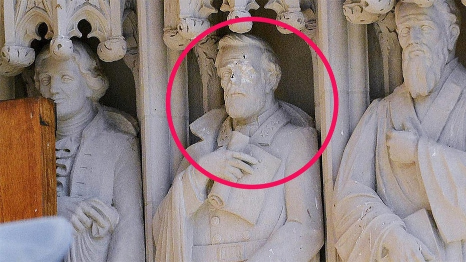 The statue of Robert E. Lee on the exterior of the Duke University Chapel was vandalized in August 2017 and then removed.
