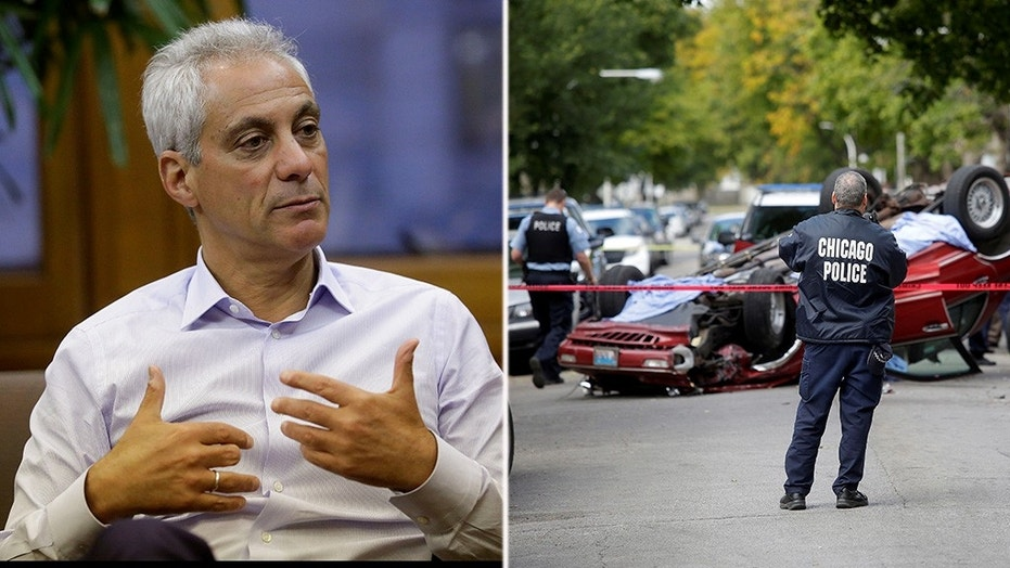 Mayor Rahm Emanuel, under fire over comments on the surging violence in Chicago. At right is one of multiple shooting scenes across the city in recent weeks. In this case, a man was shot in his car.
