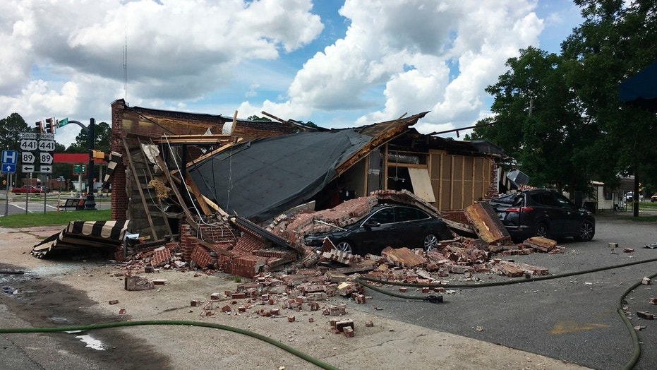 A destroyed coffee shop after an explosion and fire in Homerville, Ga., Friday, Aug. 17, 2018.