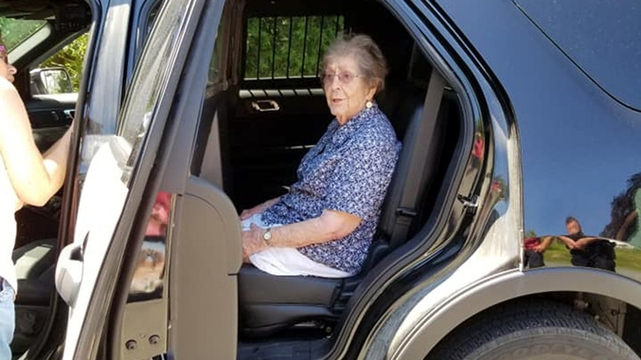"""Anne Dumont arranged with the Augusta Police Department to """"gently arrest"""" her mother, Simone (pictured), who loves watching the TV show, """"Cops,"""" for her 93rd birthday."""