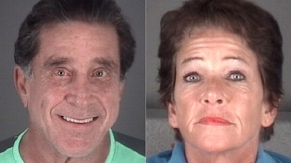Booking photos for Joseph Massad, 68, the Mayor of Port Richey, Fla., and Caj Joseph, 57.