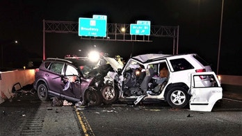 This photo provided by the Indiana State Police shows the scene of a crash on Interstate 90, early Saturday, Sept. 1, 2018 in Gary, Ind.  Indiana State Police say four people, including a child, have died in a wrong-way driver crash on Interstate 90. Police say the crash killed the driver of a Toyota SUV that was traveling west in the eastbound lanes of the highway with no headlights on. ( Indiana State Police via AP)