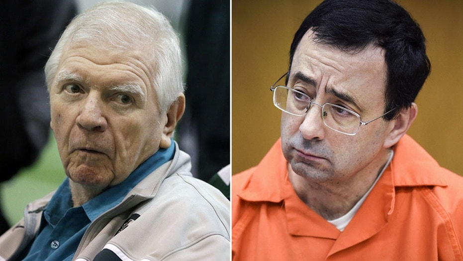 Former Michigan State University Athletic Director George Perles, left, and Larry Nassar.
