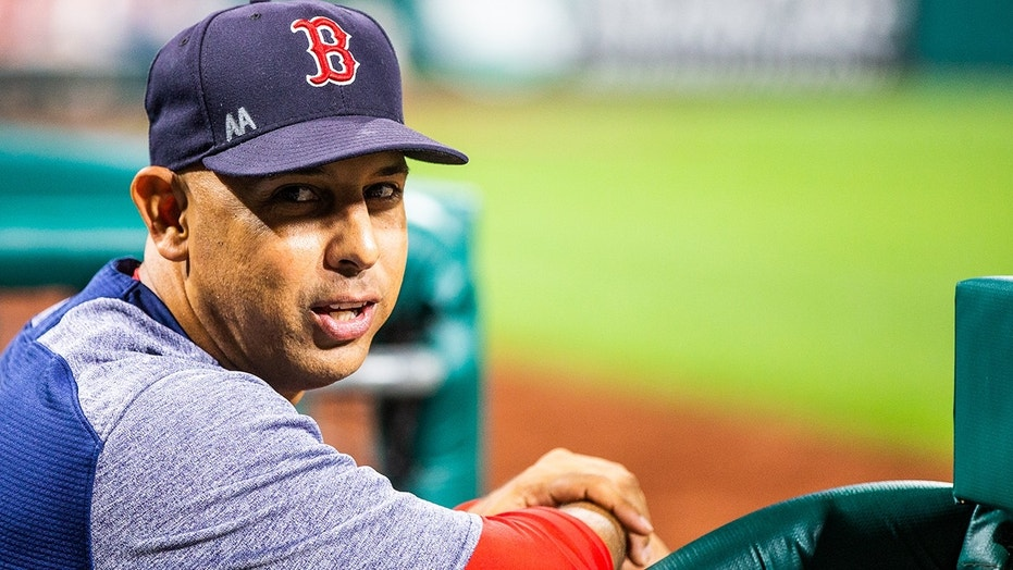 Manager Alex Cora of the Boston Red Sox looks on during the game against the Phillies at Citizens Bank Park in Philadelphia, Aug. 15, 2018.