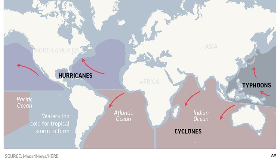 World map showing areas affected by typhoons and hurricanes.; 2c x 2 inches; 96.3 mm x 50 mm;