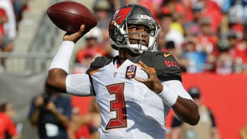 FILE - In this Sept. 13, 2015, file photo, Tampa Bay Buccaneers quarterback Jameis Winston (3) looks to throw the ball during the first half of an NFL football game against the Tennessee Titans in Tampa, Fla. Winston was the top pick in the draft that year and had a solid summer to win the starting job. He got off to a bad start in front of the home crowd, though, as his first pass was intercepted and returned for a touchdown by Coty Sensabaugh. (AP Photo/Chris O'Meara, File)