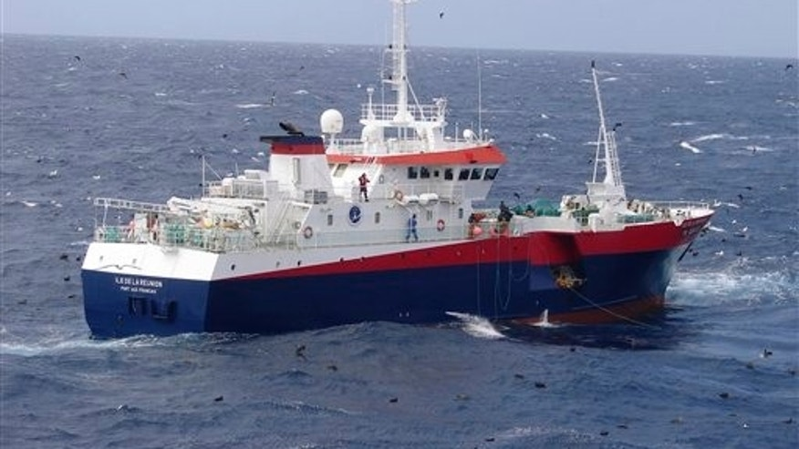 This July 14, 2008 photo provided by Marc Thiery shows the French fishing vessel, Ile De La Reunion. The French fishing vessel Ile De La Reunion rescued a stranded California teenager, Abby Sunderland, 16, in the turbulent southern Indian Ocean,  after the mast on her boat broke, ending her around-the-world sailing effort, Saturday, June 12, 2010. Abby Sunderland has been stranded in heavy seas since Thursday, when she set off a distress signal after the mast collapsed, knocking out her satellite communications. (AP Photo/Marc Thierry, HO) ** EDITORIAL USE ONLY - NO SALES **