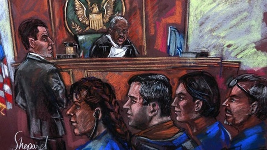 (From L to R) Russian spy suspects Vicky Pelaez, Richard Murphy, Cynthia Murphy and Juan Lazaro, are seen in this courtroom sketch during an appearance at the Manhattan Federal Court in New York July 1, 2010. The four are among 11 alleged spies that U.S. authorities say spent a decade living quiet lives in American cities and suburbs, all the while recruiting political sources and gathering information for the Russian government.  REUTERS/Shirley Shepherd (UNITED STATES - Tags: CRIME LAW POLITICS)