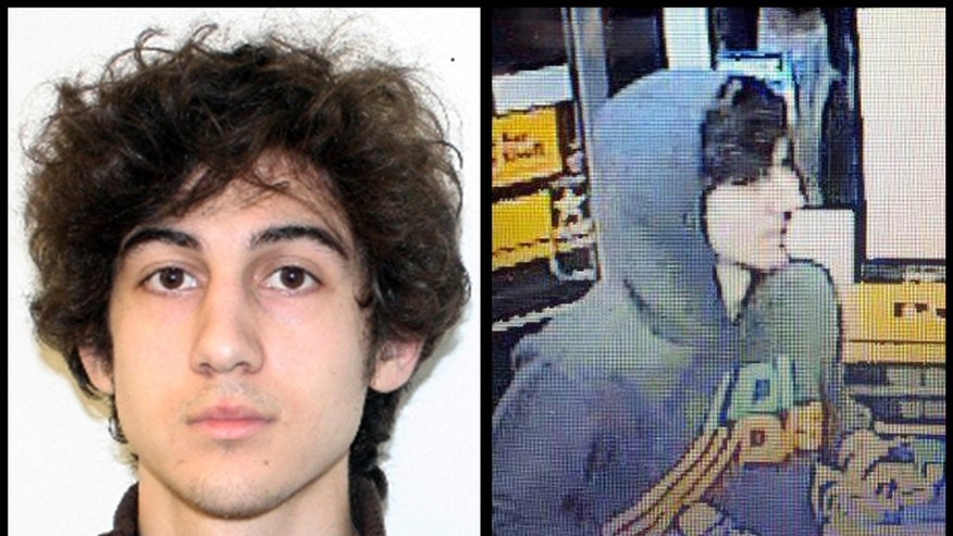 April 19, 2013: This combination of photos provided by the Federal Bureau of Investigation, left, and the Boston Regional Intelligence Center, right, shows a suspect that officials have identified as Dzhokhar Tsarnaev, being sought by police in connection with Monday's Boston Marathon bombings.