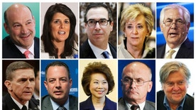 U.S. president-elect Donald Trump's appointees are seen in this combination image. Top row (L-R)  Gary Cohn, appointed National Economic Council Director, Nikki Haley, appointed U.S. Ambassador to the United Nations, Steven Mnuchin, appointed Treasury Secretary, Linda McMahon, appointed Small Business Administration Administrator, Rex Tillerson, appointed Secretary of State. Bottom Row (L-R) Michael Flynn, appointed National Security Advisor, Reince Priebus, appointed White House Chief of Staff, Elaine Chao, appointed Transportation secretary, Andrew Puzder, appointed Labor Secretary, Stephen Bannon, appointed Chief White House Strategist, Senior Counselor. REUTERS/Files  - RTX2VEEJ