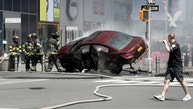 A vehicle that struck pedestrians in Times Square and later crashed is seen on the sidewalk in New York City, U.S., May 18, 2017. REUTERS/Mike Segar - RTX36G5L