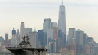 The USS Kearsarge moves past lower Manhattan as part of New York's Fleet Week as seen from Weehawken, N.J., Wednesday, May 24, 2017. New York's Fleet Week kicked off with a parade of ships up the Hudson River. The public will have a chance to interact with service members and see military demonstrations through Tuesday, May 30 when the ships leave the New York area. (AP Photo/Seth Wenig)