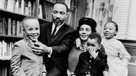 FILE - In this March 17, 1963, file photo, Dr. Martin Luther King Jr. and his wife, Coretta Scott King, sit with three of their four children in their Atlanta, Ga., home. From left are: Martin Luther King III, 5, Dexter Scott, 2, and Yolanda Denise, 7. On April 4, 1968, a movement lost its patriarch when the Rev. Martin Luther King Jr. was killed on a hotel balcony in Memphis. Yolanda, Martin, Dexter and Bernice King lost their father. (AP Photo/File)