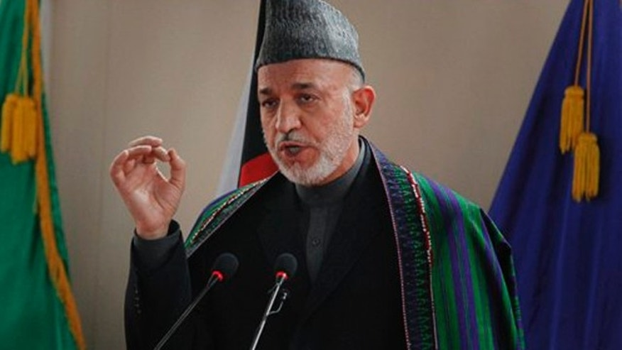 March 18: Afghan President Hamid Karzai speaks to military officers at the National Military Academy in  Kabul, Afghanistan.