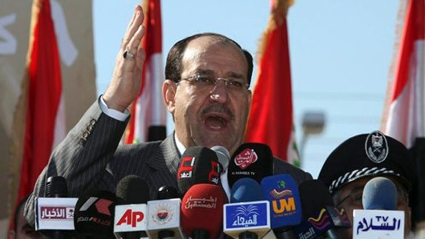 Iraq's Prime Minister Nouri al-Maliki speaks at a parade marking Police Day in Baghdad, Iraq on Jan. 9.