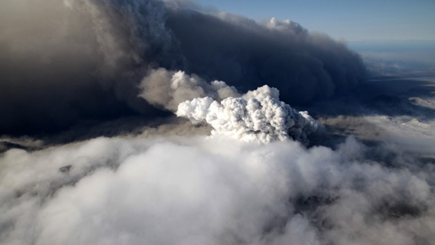 April 19: This aerial photo shows a plume of ash rising from the volcano in southern Iceland's Eyjafjallajokull glacier.