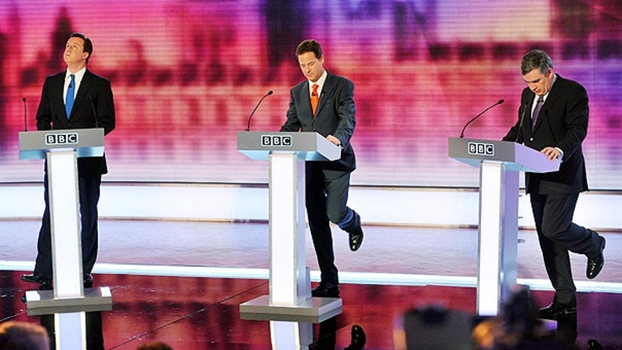 April 29: Labour's Prime Minister Gordon Brown, right, Conservative Party leader David Cameron, left, and Liberal Democrat Party leader Nick Clegg, take part in Britain's third televised election debate in Birmingham.