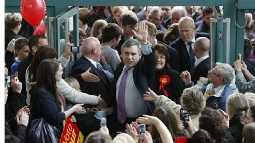 May 5: Britain's Prime Minister Gordon Brown greets Labour supporters at Skelmersdale shopping center in Skelmersdale, England.
