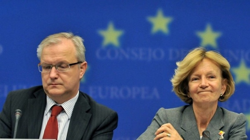 May 10: EU commissioner for Economic and Monetary Affairs Olli Rehn and Spanish Finance Minister Elena Salgado.