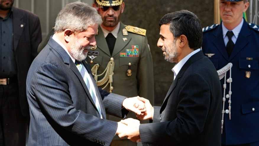 May 16: Iranian President Mahmoud Ahmadinejad, right, welcomes Brazilian President Luiz Inacio Lula da Silva in Tehran.