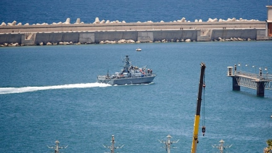 Israeli forces aboard naval ships, like the one seen here, boarded the 1,200-ton Rachel Corrie cargo ship and prevented it from breaking an Israeli maritime blockade of the Hamas-ruled territory.