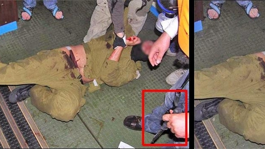 On the left, the uncropped photo. On the right, Reuters' released photo. (Reuters)