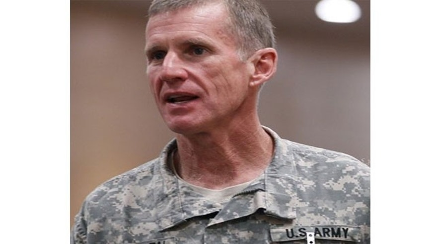 File: Gen. Stanley McChrystal, the commander of the NATO and U.S. forces in Afghanistan, at NATO headquarters in Brussels.