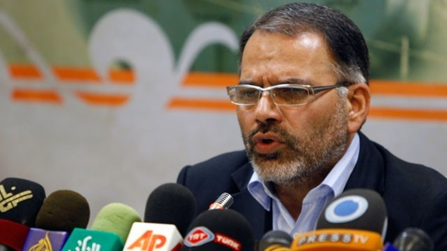 Abdolraouf Adibzadeh, spokesman for the planned Iranian humanitarian aid ship to the blockaded coastal strip of Gaza carrying 1,100 tons of relief supplies, speaks in a news conference in Tehran, Iran, Tuesday, June 22, 2010.