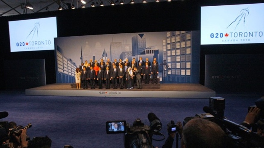 June 27: G-20 leaders gather for the meeting's official Family Photo during the G-20 Summit.