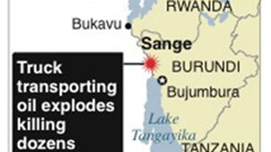 Map of Sange, Democratic Republic of Congo, where a tanker carrying oil exploded.