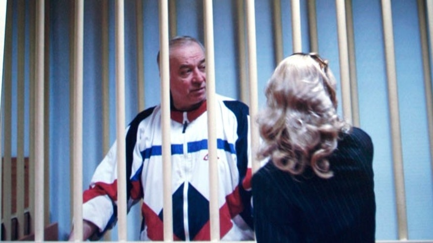 n this Wednesday, Aug. 9, 2006 file picture Sergei Skripal speaks to his lawyer from behind bars seen on a screen of a monitor outside a courtroom in Moscow.Russian President Dmitry Medvedev has signed a decree pardoning four convicted foreign spies so they can be exchanged for 10 people accused of spying for Russia in the United States, the Kremlin said Friday, July 9, 2010, Sergei Skripal is one of them.