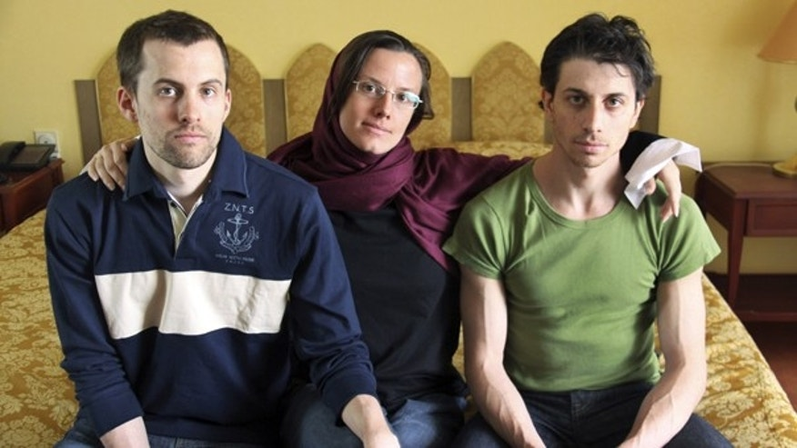 In this May 20, 2010, file photo, American hikers Shane Bauer, Sarah Shourd and Josh Fattal, sit at the Esteghlal Hotel in Tehran, Iran.