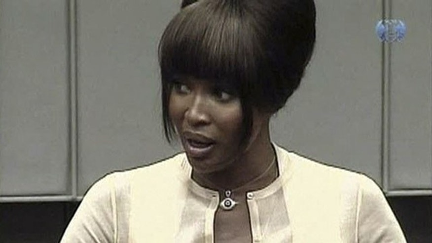 A frame grab shows British supermodel Naomi Campbell testifying at the war crimes trial of former Liberian President Charles Taylor at the U.N. Special Court for Sierra Leone in Leidschendam August 5, 2010. Campbell said on Thursday she had been given a pouch containing small, rough diamonds while in South Africa but did not know who they were from (Reuters).