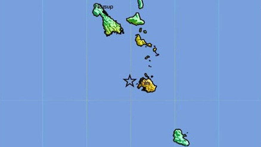 Aug. 10: USGS map shows the intensity of shaking from the earthquake, centered just west of Port Vila, Vanuatu, in the South Pacific.