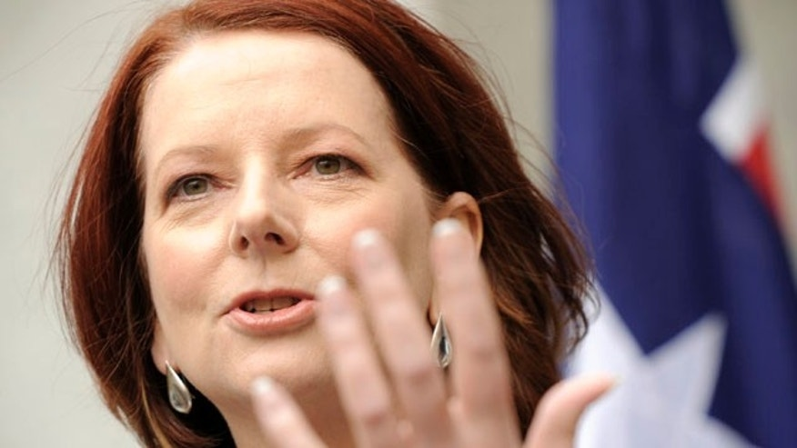Australian Prime Minister Julia Gillard speaks at a press conference in Canberra, Australia, Wednesday, Sept. 1, 2010.