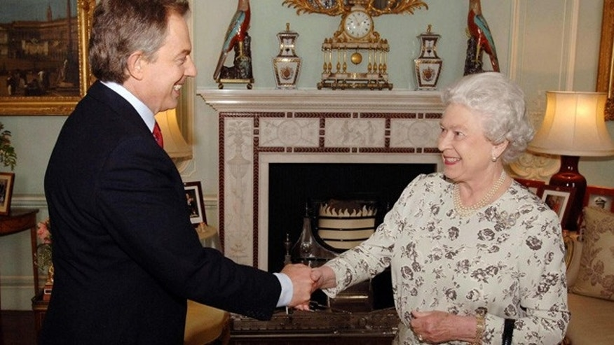 File: Queen Elizabeth II receives British Prime Minister and Labour Party leader Tony Blair in London.