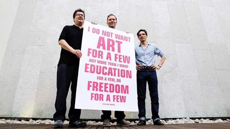 September 10: British artists Mark Wallinger, David Shrigley, and Jeremy Deller, pose for the media as they launch a campaign to lobby against the Governments proposed 25 per cent cuts in arts funding, in London. (AP)