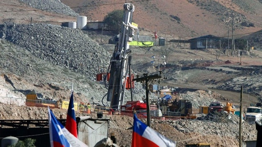 September 9: A drill is used in the rescue operation of trapped miners at the San Jose mine in Copiapo, Chile.  The thirty-three miners have been trapped deep underground in the copper and gold mine since it collapsed on Aug. 5. (AP)