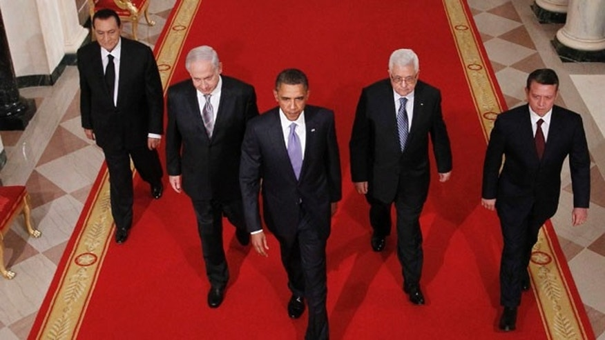 September 1: Actual Photo from the Middle East Peace Talks shows Egyptian President Hosni Mubarak, Israeli Prime Minister Benjamin Netanyahu, President Barack Obama, Palestinian President Mahmoud Abbas and Jordan's King Abdullah II walk to East Room of the White House before making statements on the Middle East peace negotiations in Washington. (AP)