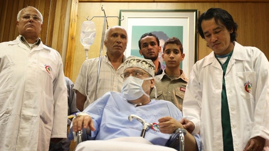 Sept. 9, 2009: Libyan Abdel Baset al-Megrahi, who was found guilty of the 1988 Lockerbie bombing, is visited by a group of African parliamentarians, not pictured, at Tripoli Medical Center in Tripoli, Libya.